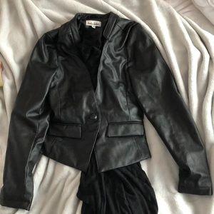 Jackets & Blazers - Faux leather blazer with built in scarf
